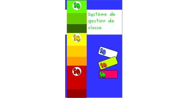 Système de gestion de classe sous le thème des dinosaures.    Plastifier et assembler les trois tableaux de couleurs à la vertical, en commençant par le vert au sommet, le jaune ensuite et le rouge en dernier. Choisir la version qui convient le mieux (d&eac