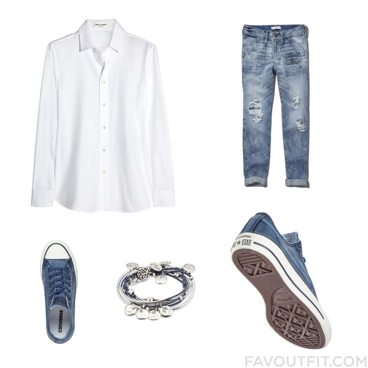 Ootd Tip Including Yves Saint Laurent Blouse Torn Jeans Converse Sneakers And Converse Trainers From May 2016 #outfit #look