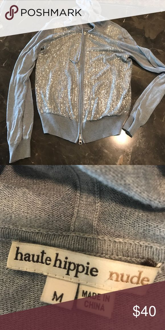 Haute Hippy nude zip hoodie Like new condition Haute Hippie nude zip hoodie with sequined chest. Haute Hippie Tops Sweatshirts & Hoodies