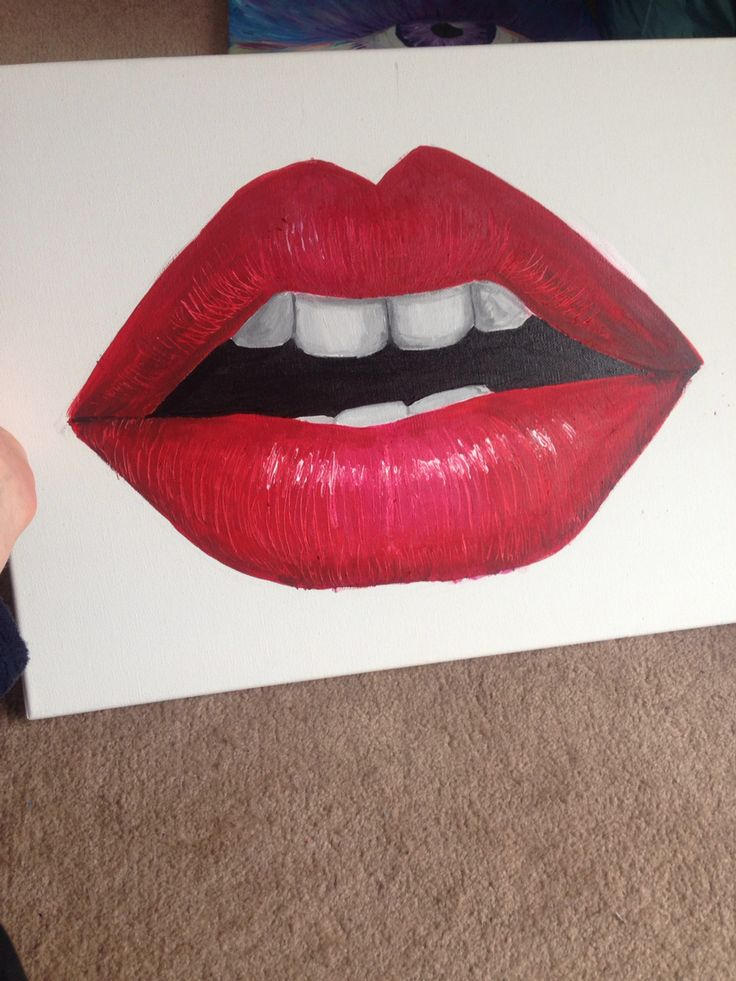 Another day off from work! A piece I painted with acrylic paint and loved every second of it! #lips #red #daysoff #art