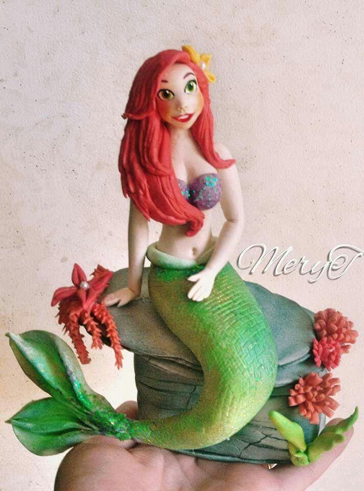 Cake topper Sirena Ariel,in pasta di mais,porcelana Fria,cold porcelain
