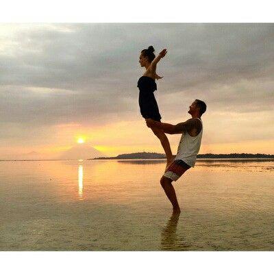 Acro yoga, Gili Air island, Bali. #yoga #bali #sunset