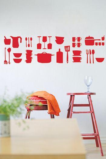 Muurstickers - maar ook een leuk idee om zelf op de muur te verven met een sjabloon.