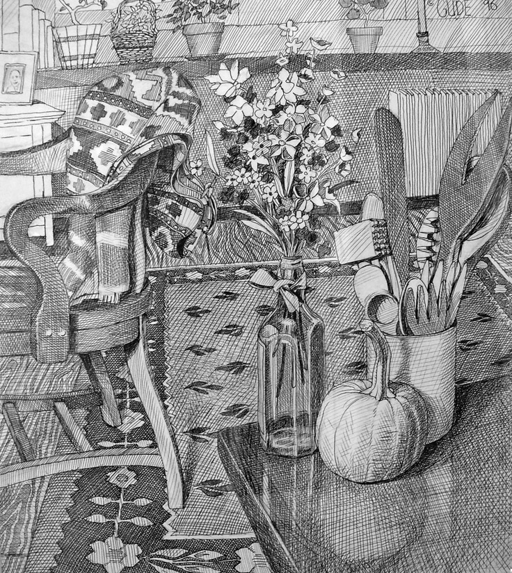 Pen an ink sketch of my living room in Tarrytown, New York —Karl Gude