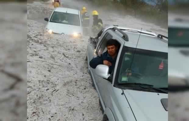Hail accumulation on route E-21 in La Cruz, Cordoba, Argentina