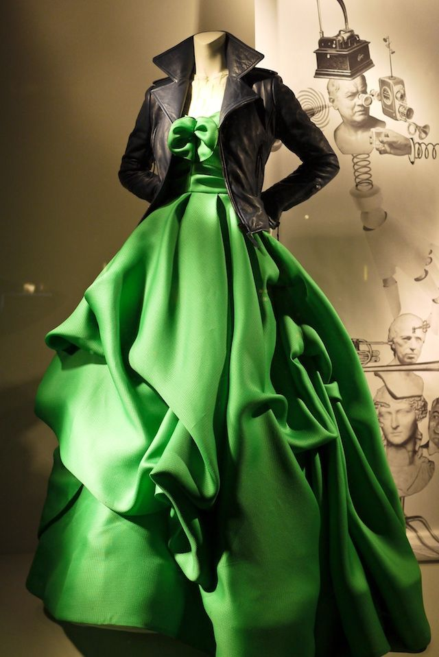 Oscar de la Renta gown, Balenciaga jacket. Totally love the leather jacket with the gown.
