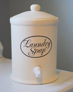 Nice container for liquid laundry soap I need this decal and one that says fabric softener too