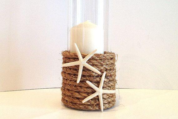 Beach wedding glass hurricane / vase perfect centerpiece manila rope candle holder or vase with starfish