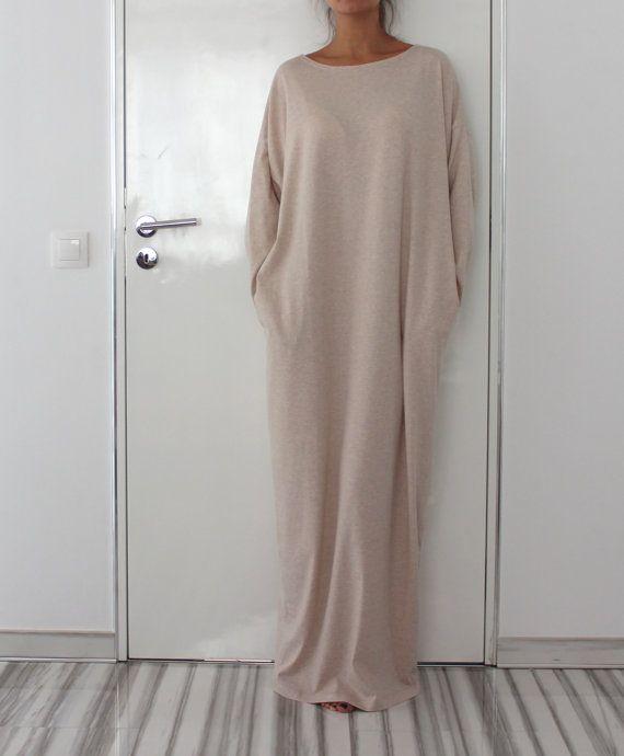 Beige Maxi dress, Caftan , Plus size dress, Long sleeves dress, Oversized dress, Abaya