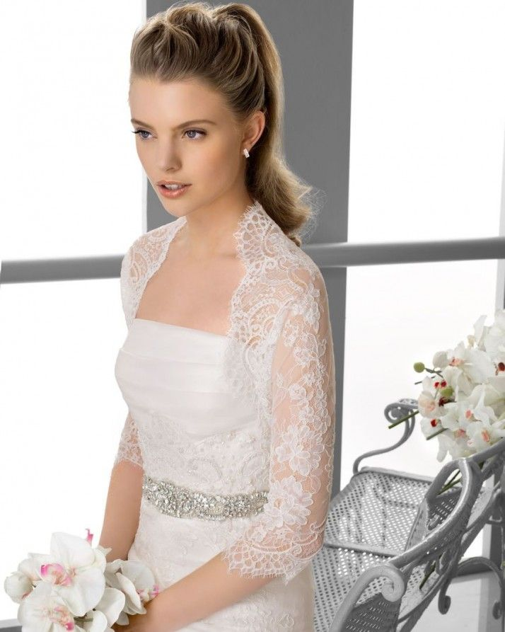 211 FANY / Wedding Dresses / 2013 Collection / Alma Novia / Shown with Bolero Jacket & without detachable Chapel length Train (close up)
