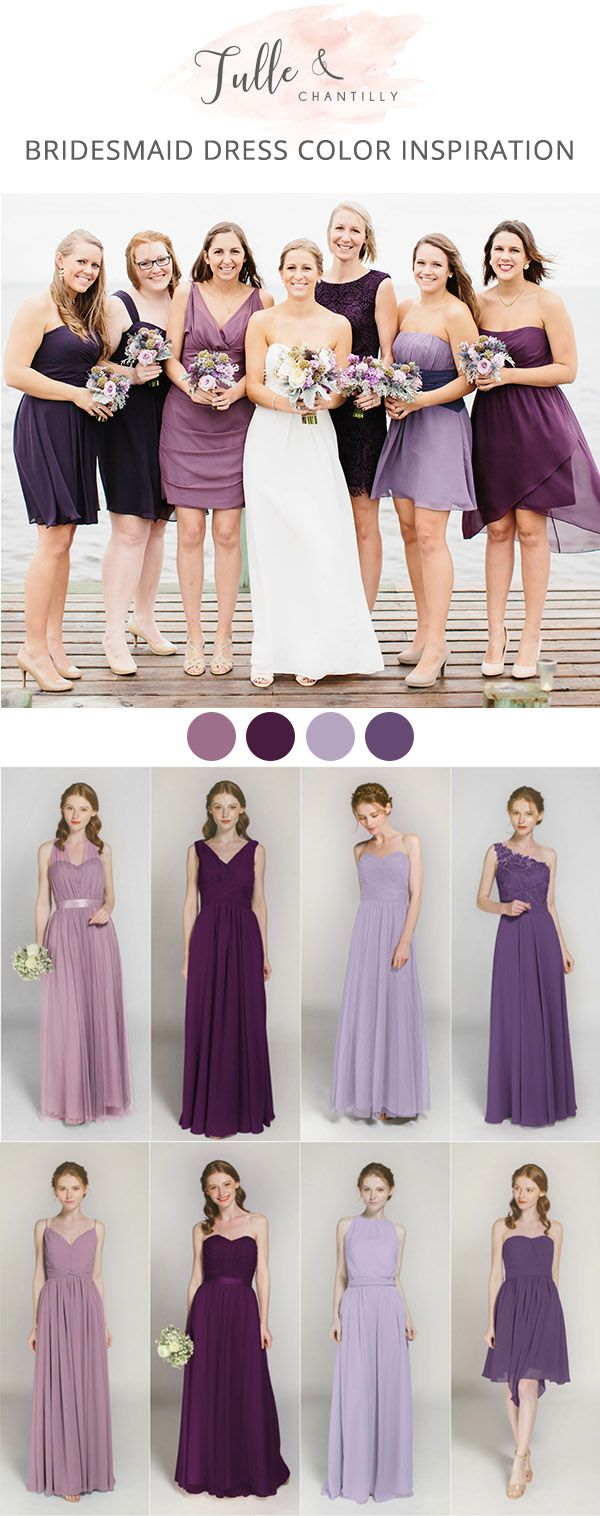 shades of purple bridesmaid dresses from tulle and chantilly