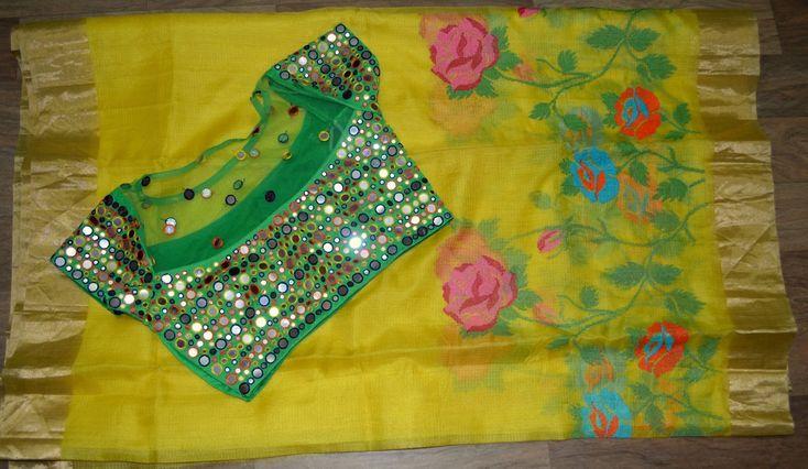 Elegant Yellow Kota Saree With Mirror Blouse   Buy online sarees   Elegant Fashion Wear
