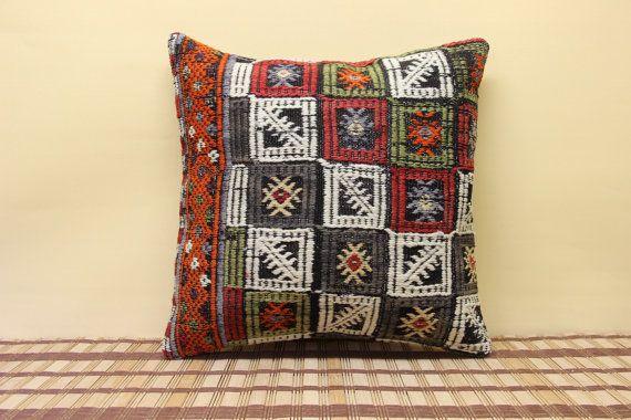 Vintage Pillow Kilim Pillow 16 x 16 Decorative by kilimwarehouse