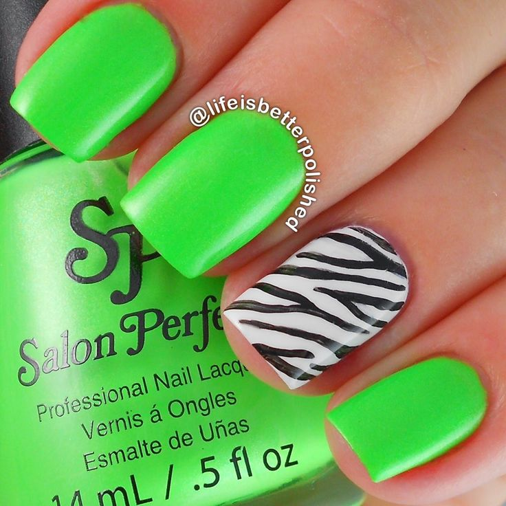 "Salon Perfect Neon Pop Collection ""Loopy Lime"" with zebra accent!"