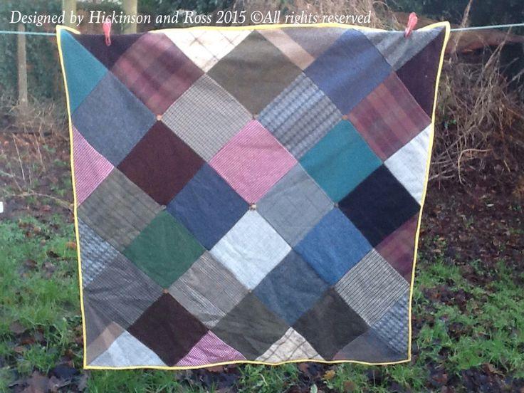 Modern gentleman's quilt made from tweed