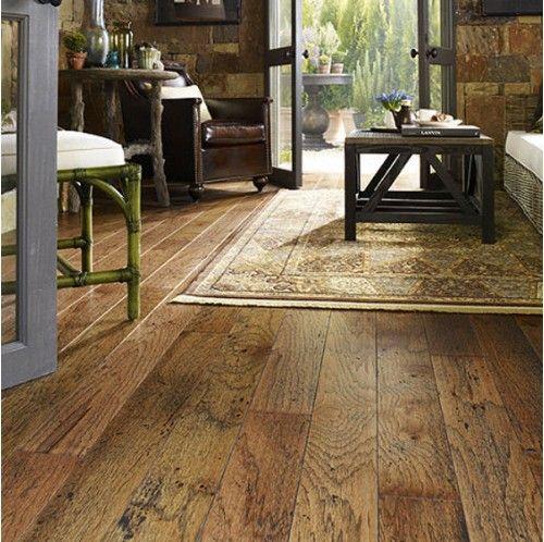 """5"""" Engineered Distressed Burnt Sugar Hickory Hardwood Floor. $4.19 sq ft. 3/8"""" thick. hardwoodbargains.com"""