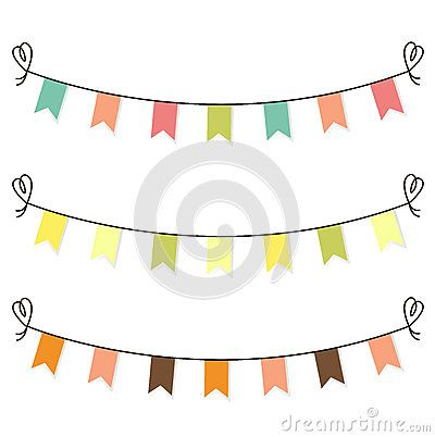 Cute birthday or baby shower flags, bunting. Vector cartoon Illustration