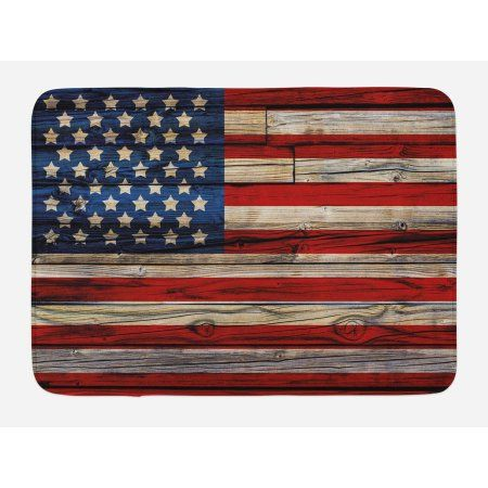 4th Of July Bath Mat Wooden Planks Painted As United States Flag Patriotic Country Style Non Slip Plush Mat Bathroom Bathroom Red Country Bathroom Plush Mat 4th of july bathroom decor