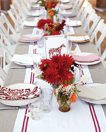 Red and white wedding table set up