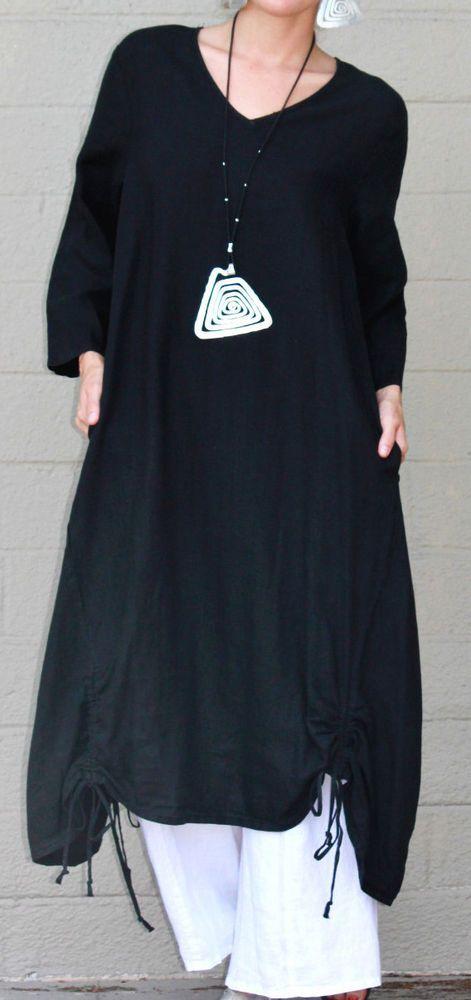 ET'LOIS USA Linen VENUS TUNIC Long Drawstring Detail Dress S M L XL BLACK | Clothing, Shoes & Accessories, Women's Clothing, Dresses | eBay!