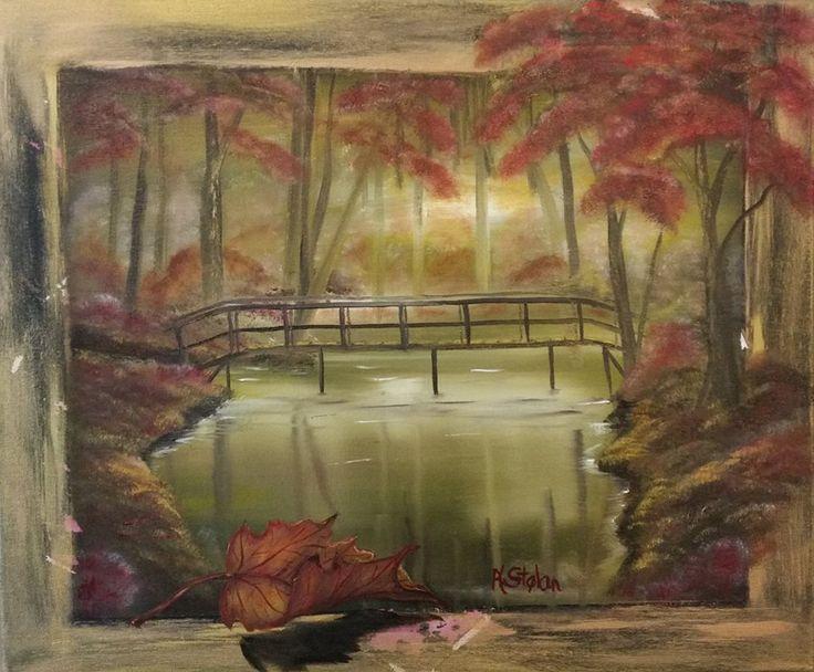 Autumn Sunset oil on canvas  Painter Anne Karin Stølan