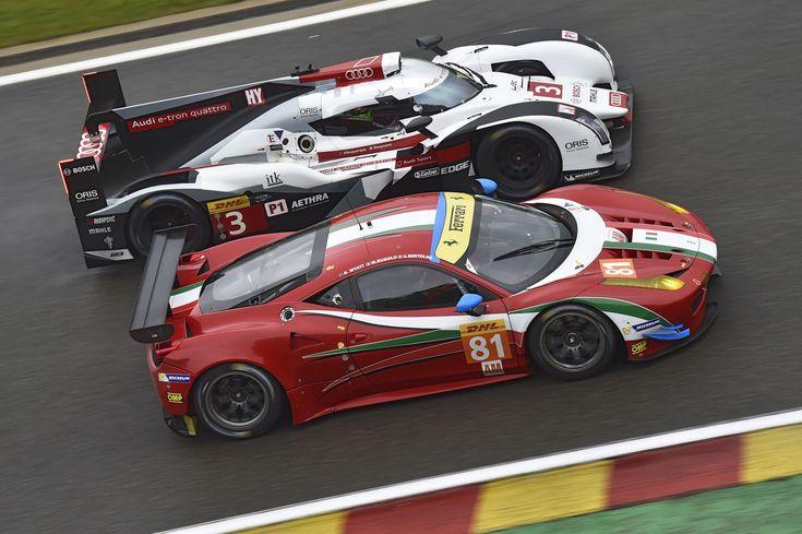 Audi R18 E Tron Quat (Arriba) y Ferrari 488 GTE (Debajo). Campeonato Mundial de Resistencia (WEP) de 2014