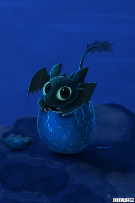 Toothless as a baby Night Fury, just cracked from his egg. SO CUTE!!!