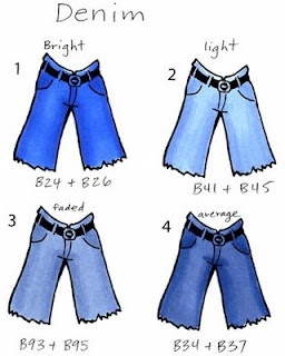 I Like Markers: What Color did I use? from Marianne Walker. Colouring Denim