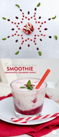 Zuckerstangen-Smoothie (Granatapfel-Cranberry-Joghurt-Minze) #SmoothieMontag #feiertaeglich