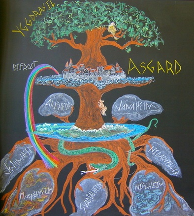 Waldorf ~ 4th grade ~ Norse Mythology ~ The Tree ~ chalkboard drawing