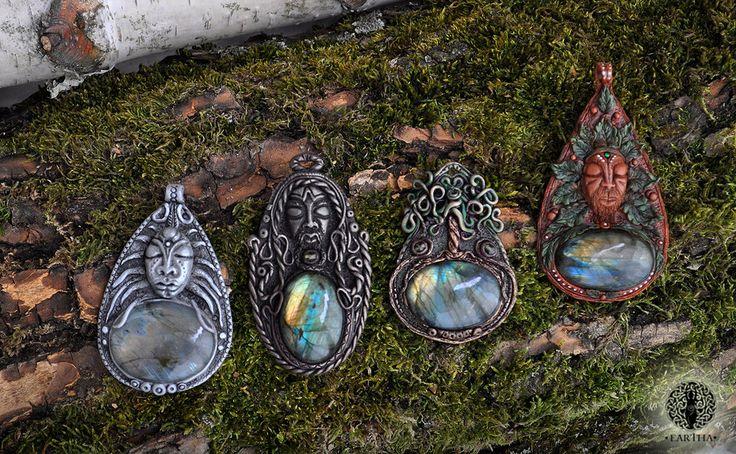 Eartha Creations handmade jewelry. Fantasy & unique design and stones! #jewelry #handmade #unique #fantasy #celtic #viking #moon #greenman #labradorite #treeoflife #tree #spiritual #spirit #ooak