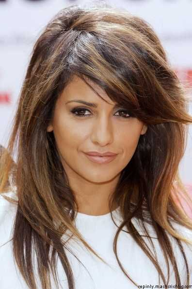 Love this highlighted brown and caramel highlights with dark hair color!  Pretty haircut with side swept bangs!  Women's hairstyles