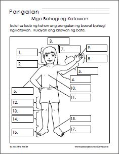 Mga Bahagi ng Katawan/Parts of the Body Worksheets