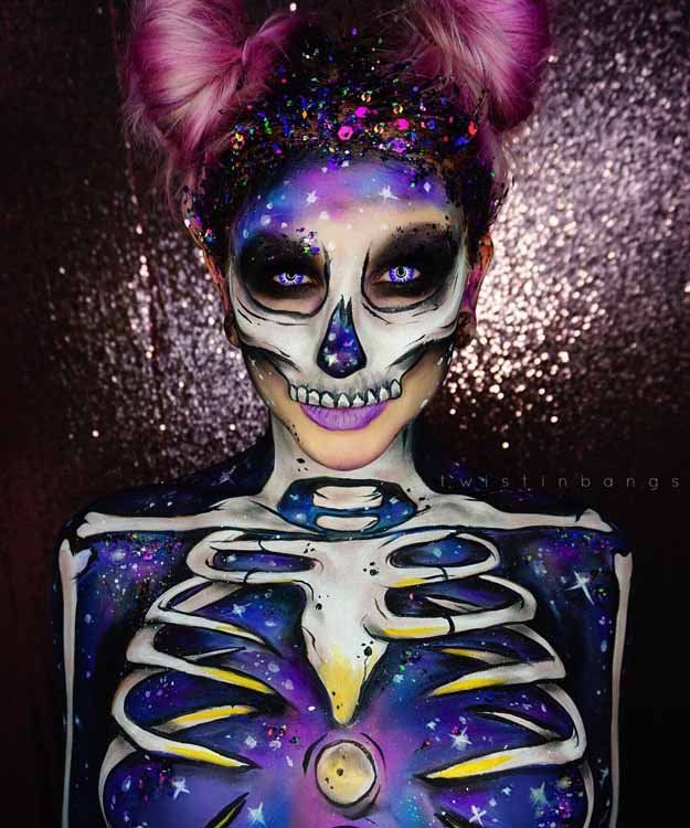 Galactic Spacebunny Skull | Spooky Skeleton Makeup Ideas You Should Wear This Ha...