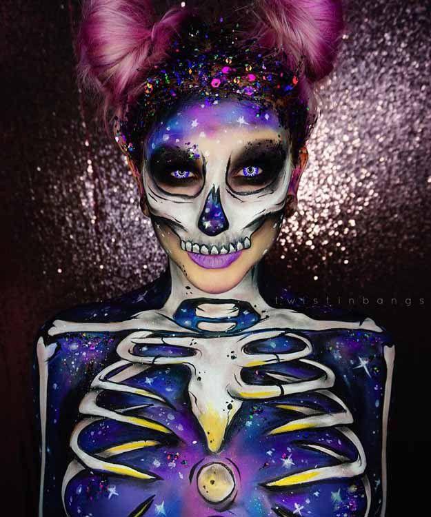 Galactic Spacebunny Skull | Spooky Skeleton Makeup Ideas You Should Wear This Halloween