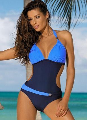 Übergröße Größe Farbquadrat Einteiler Bikinis und Bademode Träger – Floryd…