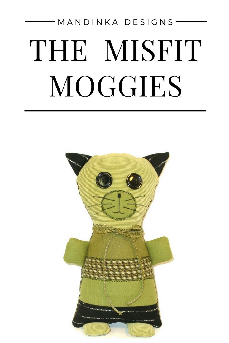 The Misfit Moggies are adorable, lovable cats made from suit coat remnants and scraps. Moggy (or moggie) is a British word for non-pedigree cats - basically the mutts of the cat world. #stuffedanimalcat #catlover #stuffedanimal #chartreuse #green