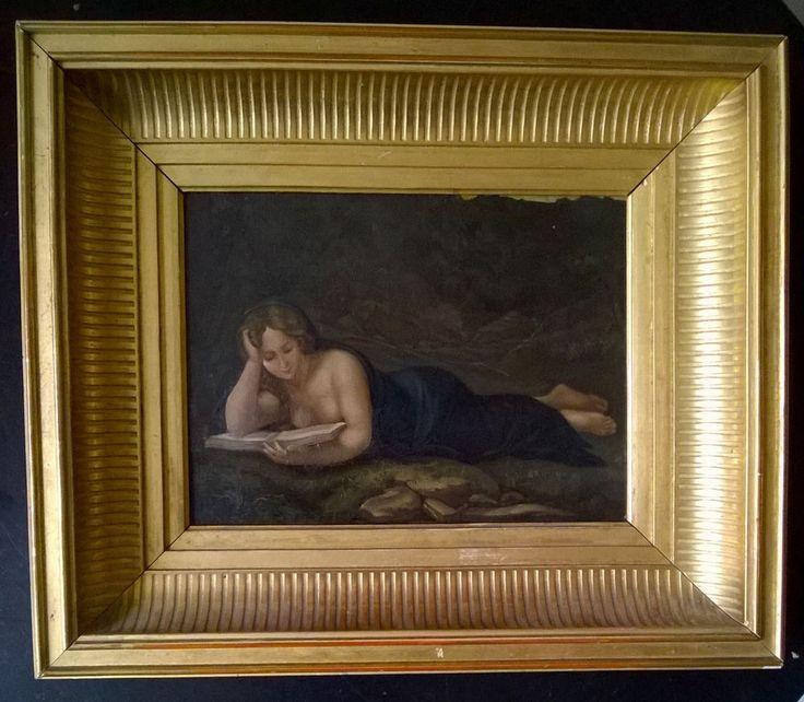 Peinture religieuse,La Madeleine de Dresde, d'après le Corrège, huile sur cuivre