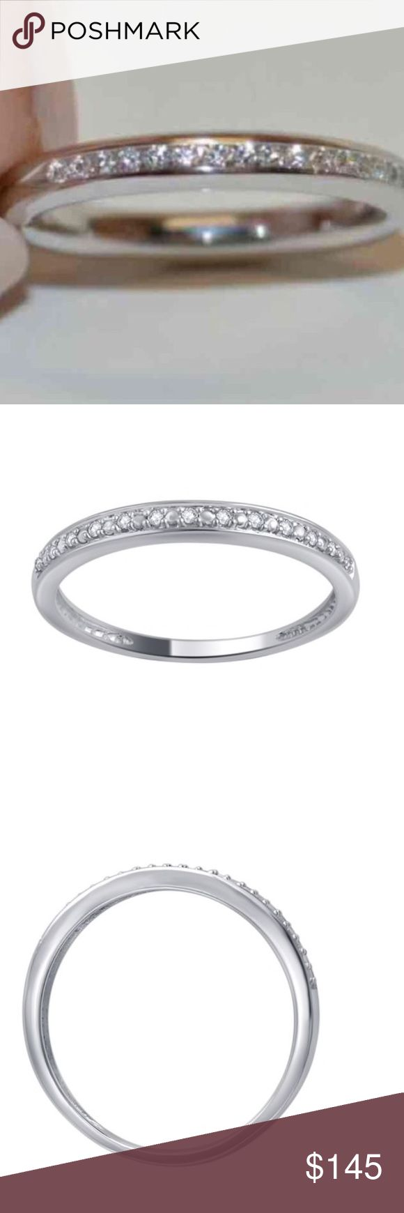 💎🎉$437 Natural Diamond Band Solid 10K W. Gold $437 10K Round Diamond Accent Band - White Gold sizes:  Product Information   Type: Diamond   Treatment: Genuine   Total number of stones: 13   Stone shape: Round   Metal: 10K solid white gold   Polished finish   Weight: 4.5g   Band width: 0.06   Full dimensions: 0.79x0.06x0.83 Jewelry Rings