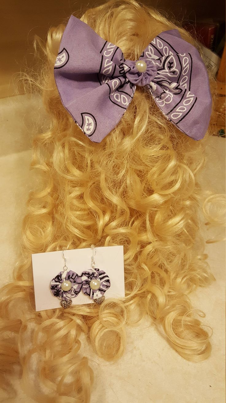 Hair Bow, Bandana Hair Bow and Earring Set, Hair Bow with Matching Jewelry by WEEDsByRose on Etsy
