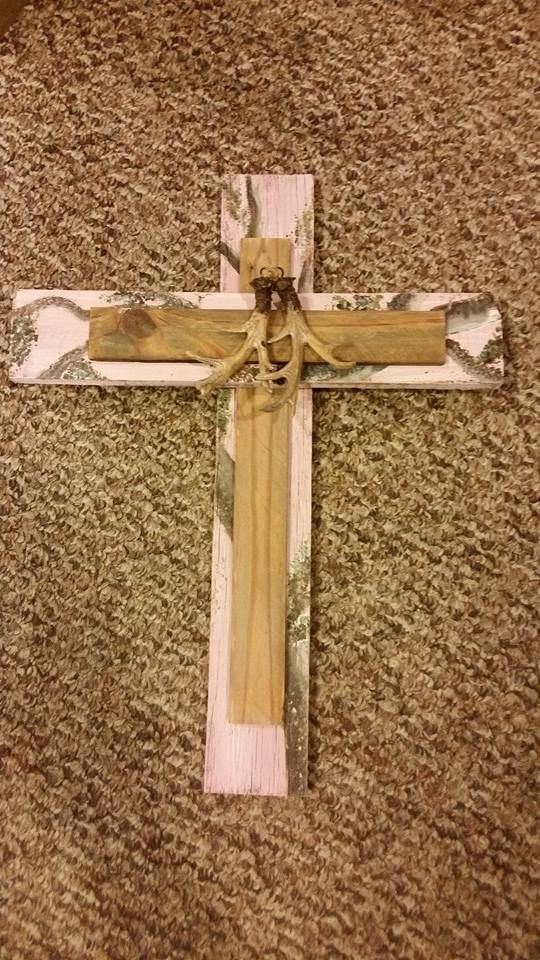Pink camo cross made from scrap lumber..Hand painted..