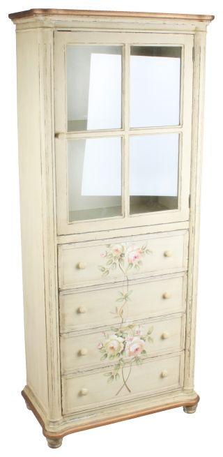 """Vitrină cu sertare """"Shabby Roses"""" - vitrină ale cărei rafturi aşteaptă porţelanuri fine şi borcane cu dulceaţă frumos legate. http://www.retroboutique.ro/mobila/noptiere/vitrina-cu-sertare-shabby-roses-1027"""