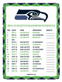 seattle seahawks schedule 2015 printable - Yahoo Image Search Results
