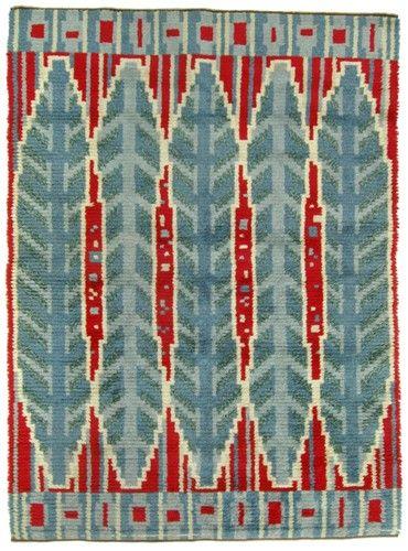 Pile Rug | Early Mid Century Rug | Scandinavian Modernist Rug | Handmade Rug | Swedish Rya Rug Carpet