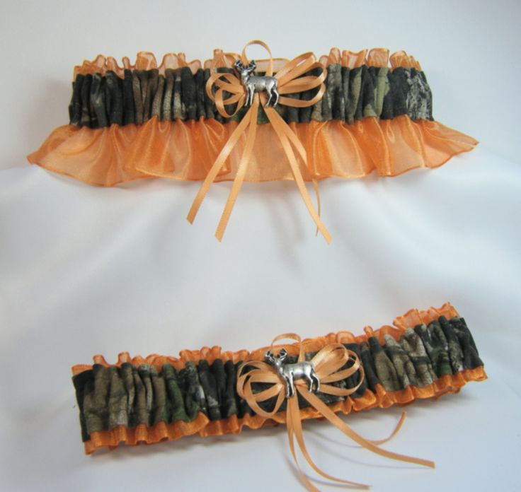 camouflage wedding ideas | MOSSY OAK CAMOUFLAGE wedding garters deer camo garter Tangerine orange