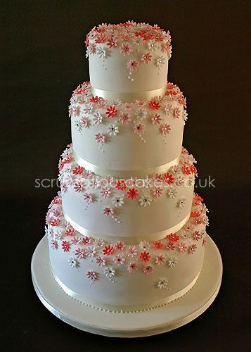 Pink Daisy Wedding Cake - by PJScrumptiousCakes @ CakesDecor.com - cake decorating website