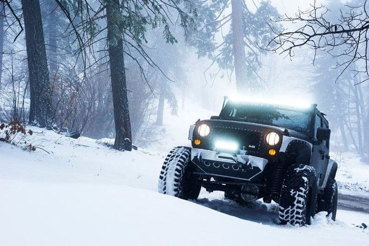 Snow Jeep, love the lights and the great winter tyres#wintertyres