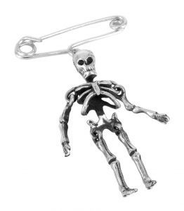 dancing skeleton brooch in sterling silver