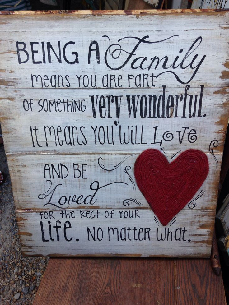 Being a family means you are part of something very wonderful it means you will love and be loved for the rest of your life. No matter what.