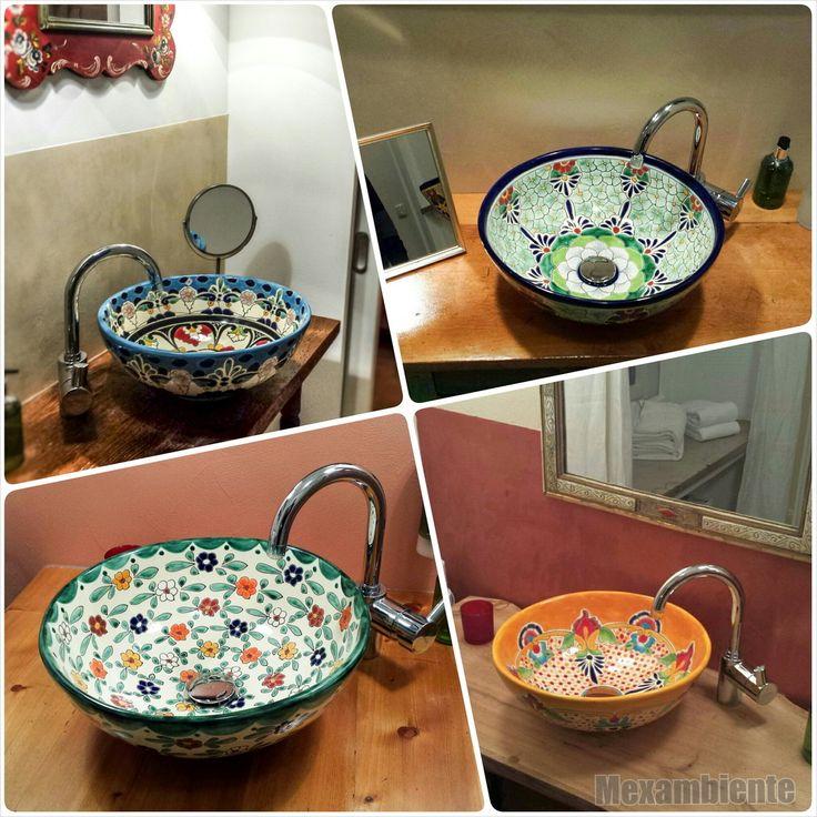 Mit traditionellen Mustern verziert, sind mexikanische Waschbecken von Mexambiente ganz besondere Blickfänger im Bad oder in jedem Gäste-WC....